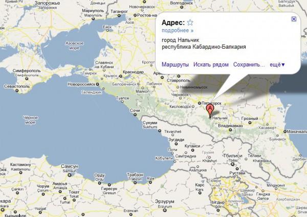 Нальчик на карте России