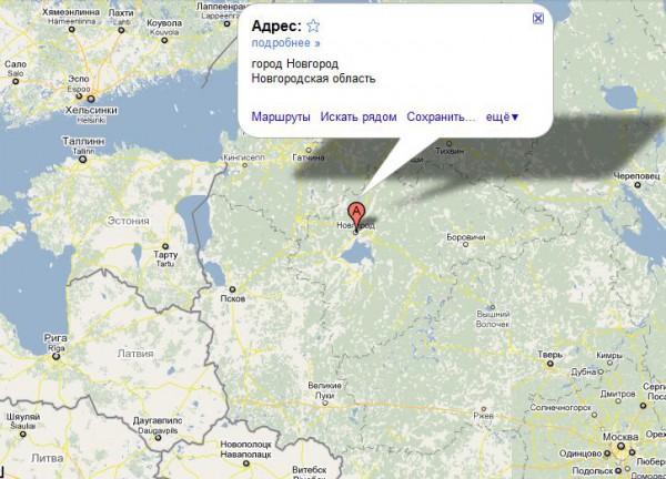 Новгород на карте России