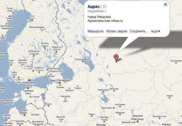 Няндома на карте России