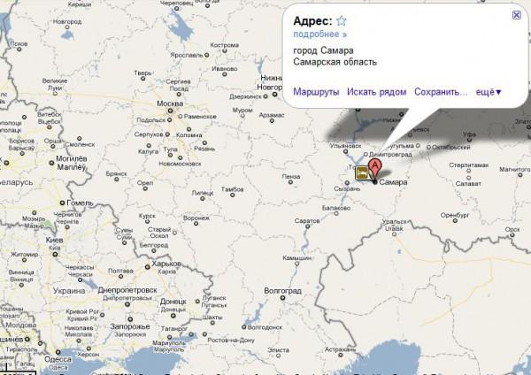 Самара на карте России