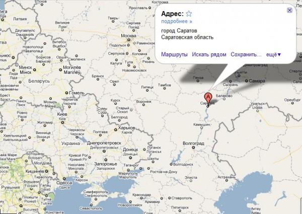 Саратов на карте России