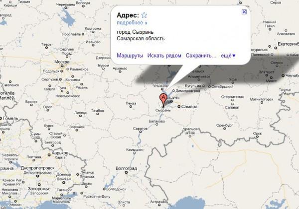 Сызрань на карте России