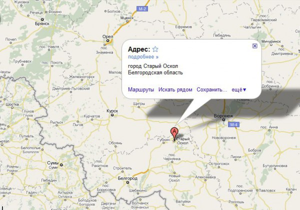 Старый Оскол на карте России