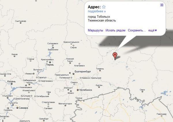 Тобольск на карте России