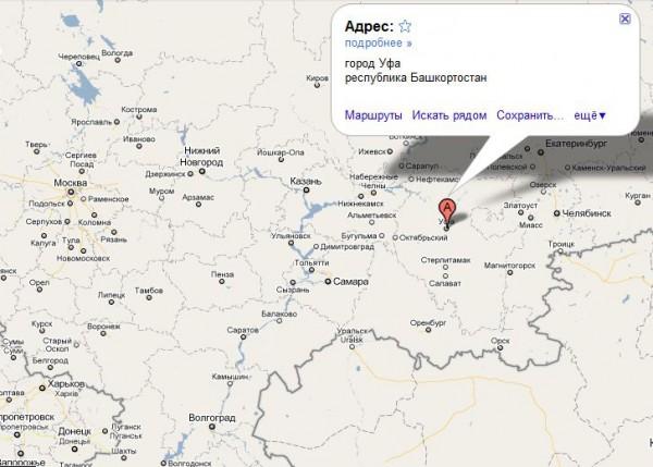 Уфа на карте России
