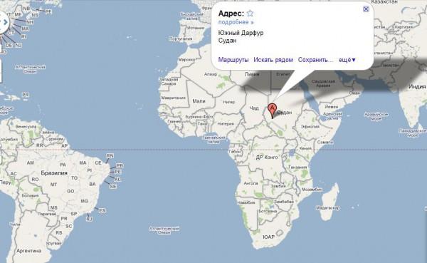 Южный Судан на карте