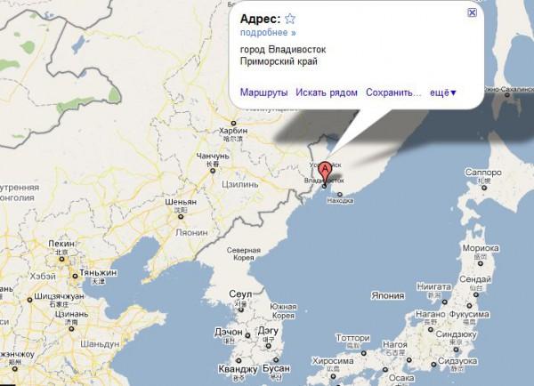 Владивосток на карте России