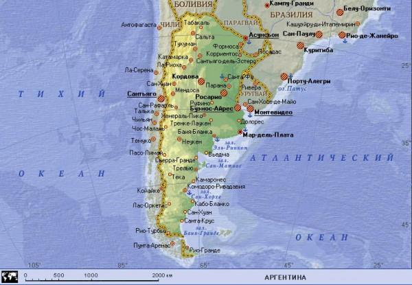 Карта Аргентины физическая подробная
