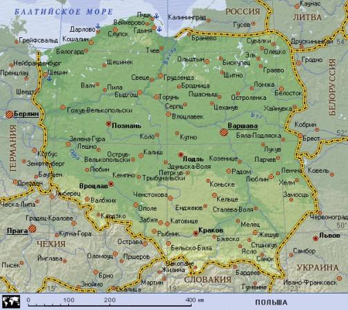 Подробная карта Польши