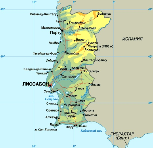 Подробная карта Португалии