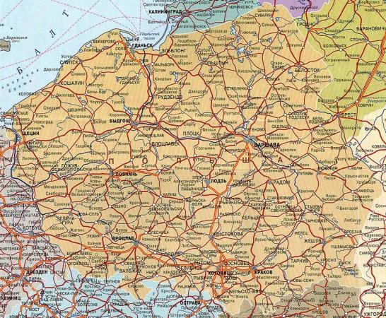 Карта городов Польши