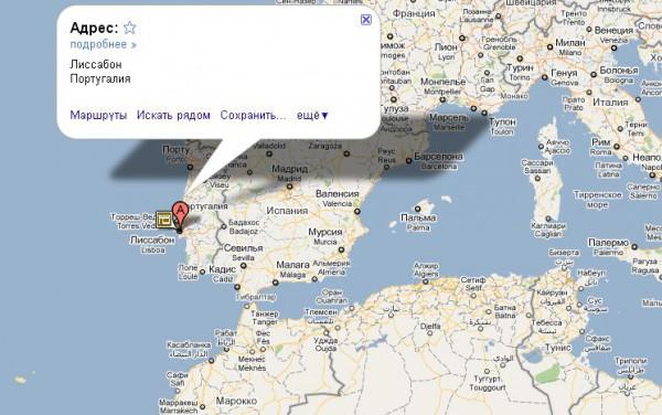 Португалия на карте мира