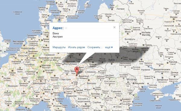 Вена на карте Европы