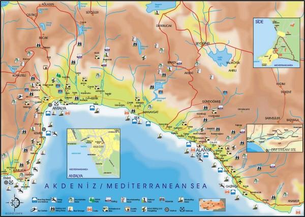 Карта побережья Турции