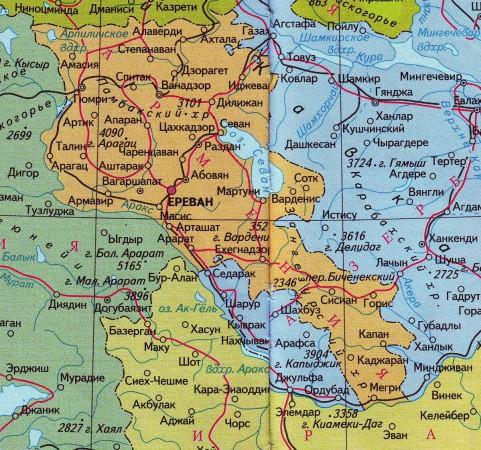 Армения. Ереван. Карта