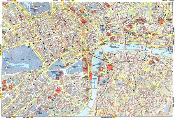 Карта Лондона с улицами