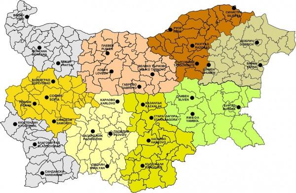 Города болгарии. Карта
