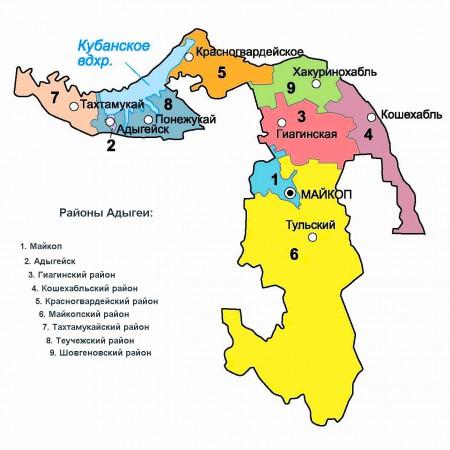 Карта Адыгеи по районам