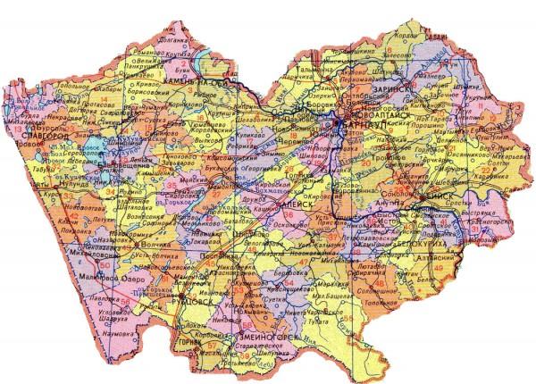 Карта Алтайского края по районам