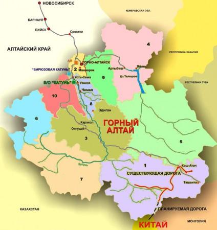 Карта Алтая по районам
