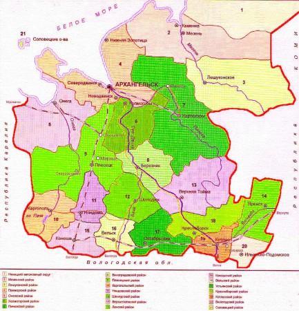 Карта Архангельской области по районам