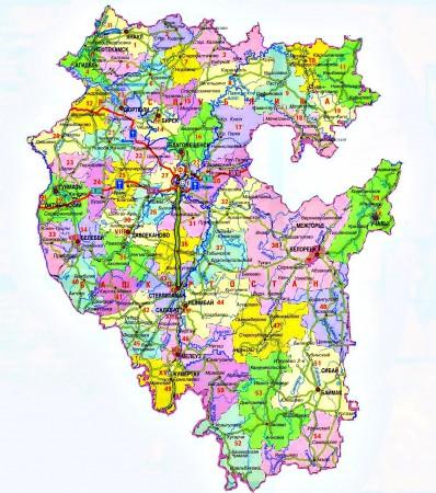 Карта Башкортостана по районам