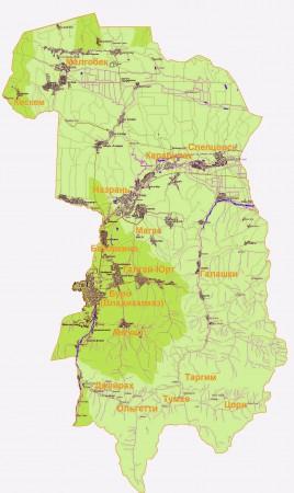Карта Ингушетии по районам
