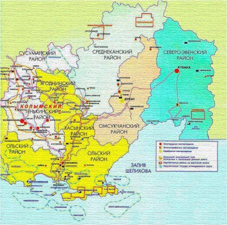 Карта Магаданской области по районам