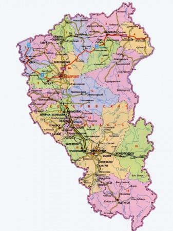 Карта Кемеровской области по районам