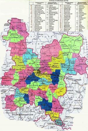 Карта Кировской области по районам