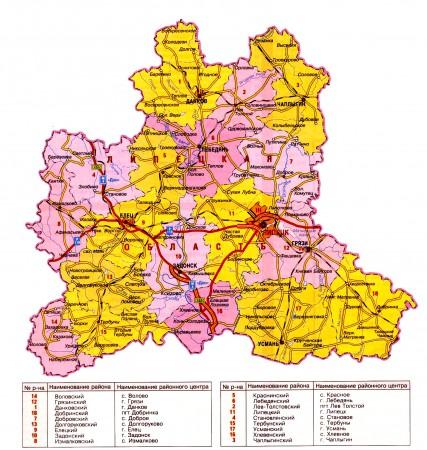 Карта Липецкой области по районам