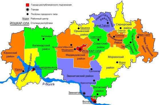 Карта Марий Эл по районам