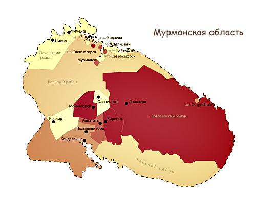 Карта Мурманской области по районам