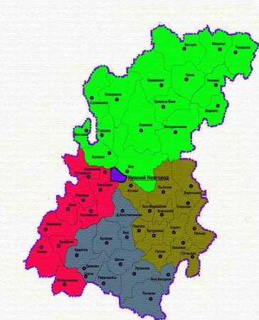 Карта Нижегородской области по районам