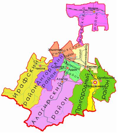Карта Северной Осетии по районам
