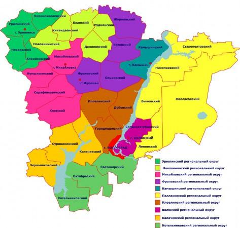 Карта Волгоградской области по районам