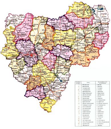 Карта Смоленской области по районам