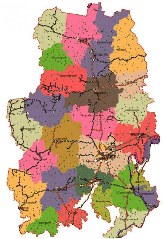 Карта Удмуртии по районам