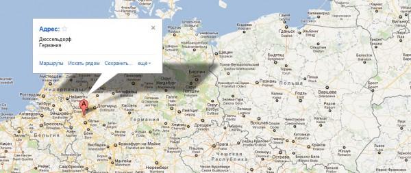 Дюссельдорф на карте