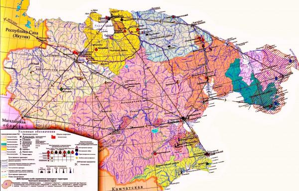 Карта Чукотки по районам