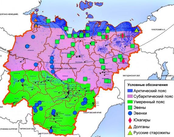 Карта Якутии по районам