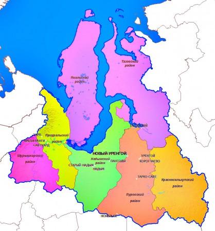 Карта Ямало-Ненецкого округа по районам