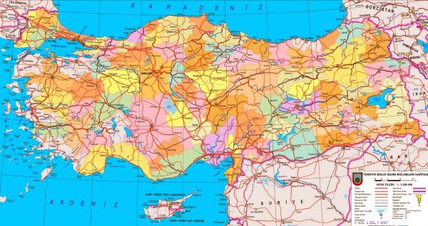 Карта Турции с городами