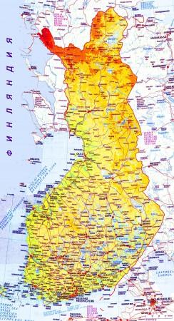 Карта Финляндии с городами